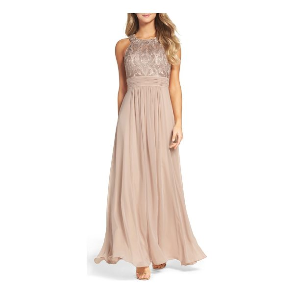 ELIZA J lace bodice gown - A ruched waistband and gathered chiffon skirt enhance the...