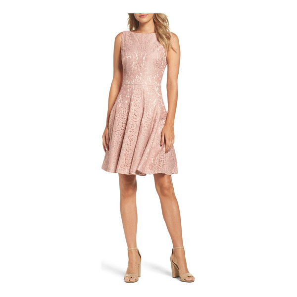 ELIZA J lace fit & flare dress - Pastel lace sweetens this inset-waist cocktail dress, made...