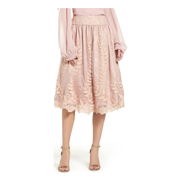 ELIZA J lace midi skirt - Delicate vines climb up this lace midi skirt flared with...