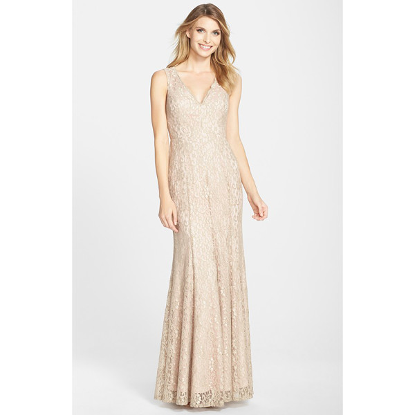 ELIZA J lace v-neck trumpet gown - Gorgeous champagne lace is shaped into a sophisticated gown...
