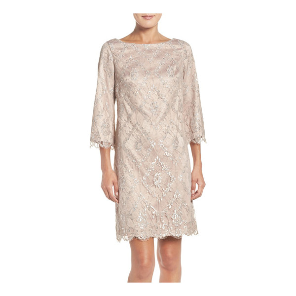 ELIZA J metallic lace a-line dress - Tinsel details light up the gauzy laze of this graceful,...