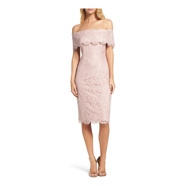 ELIZA J off the shoulder lace sheath - Bare sun-kissed shoulders in a daring but demure lace...