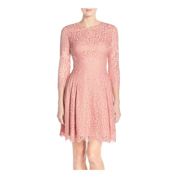 ELIZA J pleat lace fit & flare dress - Meticulous pleating at both hips enhances the swingy nature...