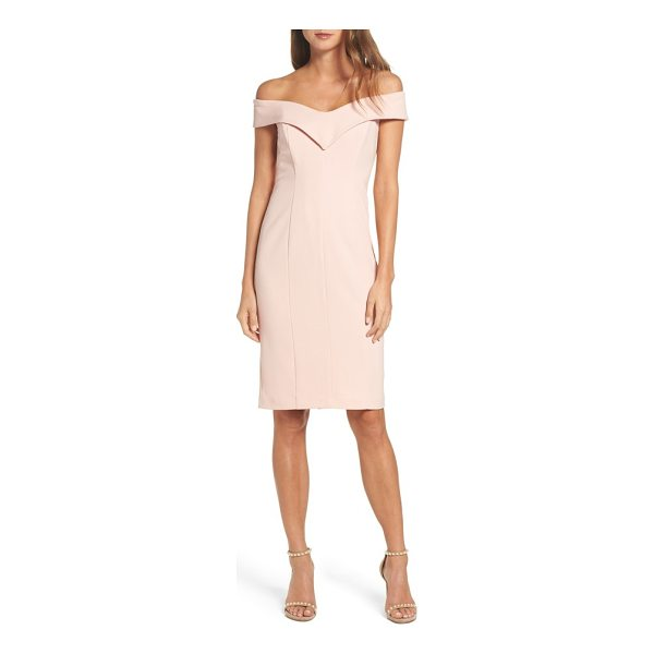 ELIZA J portrait collar sheath dress - This crepe dress is elegant with a shoulder-baring portrait...