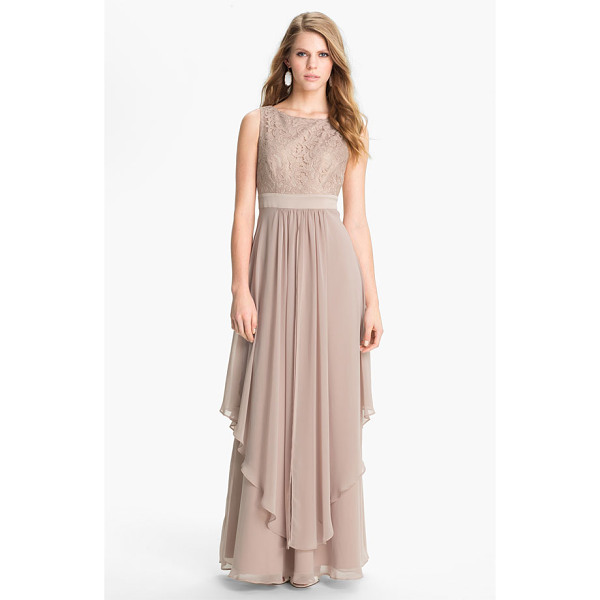 ELIZA J sleeveless lace & chiffon gown - Delicate lace overlays a sleeveless bodice and enhances a...