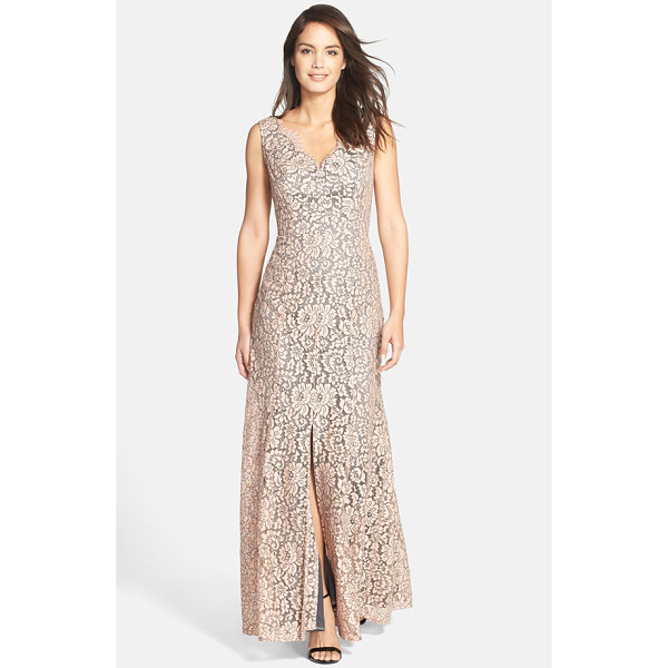 ELIZA J sleeveless lace gown - A subtle front slit adds modern allure to a romantic lace...