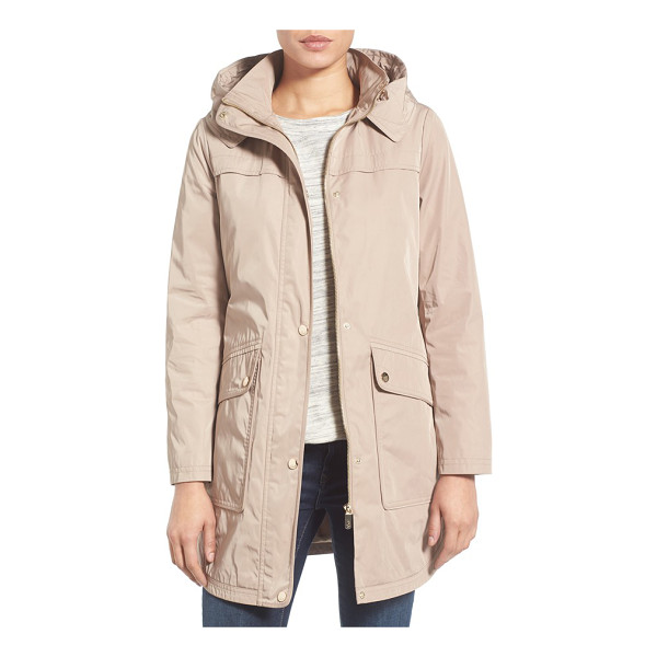 ELIZA J water repellent hooded parka - A roomy hood, snap-down storm placket and spacious flap...