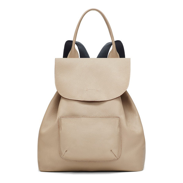 ELIZABETH AND JAMES 'langley' pebbled leather backpack - A curvy flap tops a slouchy drawstring backpack crafted in...
