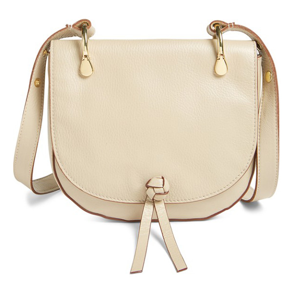 ELIZABETH AND JAMES 'zoe' leather saddle bag - An elegant knot fronts the curvy flap of a cool, casual...