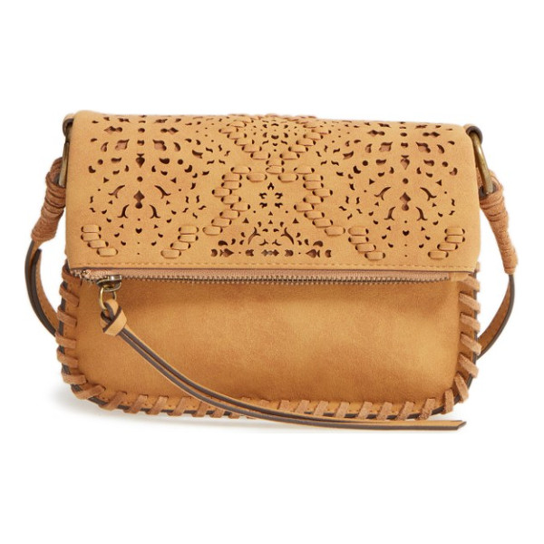 ELLE & JAE GYPSET amarillo cutwork faux suede crossbody bag - Delicate cutwork and tonal hand-laced stitching elevate the...