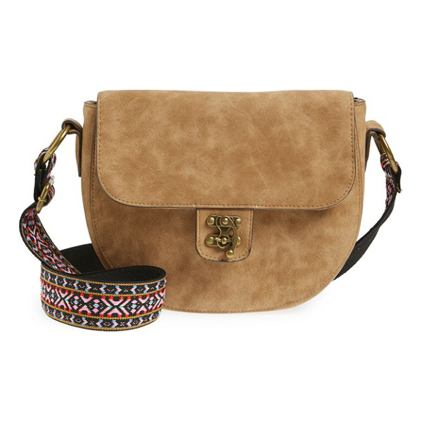 ELLE & JAE GYPSET Marrakesh faux suede crossbody bag - A vibrantly embroidered guitar strap and antiqued goldtone...
