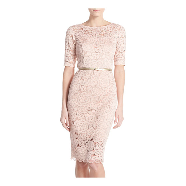 ELLEN TRACY petite   belted lace sheath dress - Corded floral lace finely textures this pencil-cut dress...