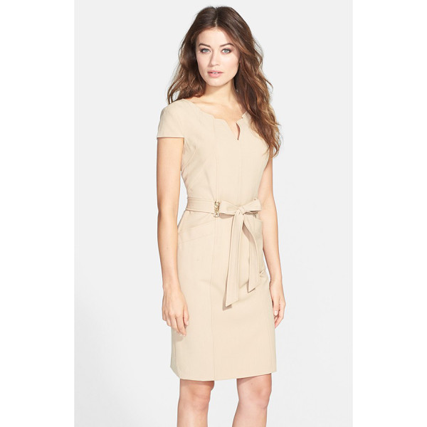 ELLEN TRACY belted stretch sheath dress - An architectural neckline, glinting chain details and handy...