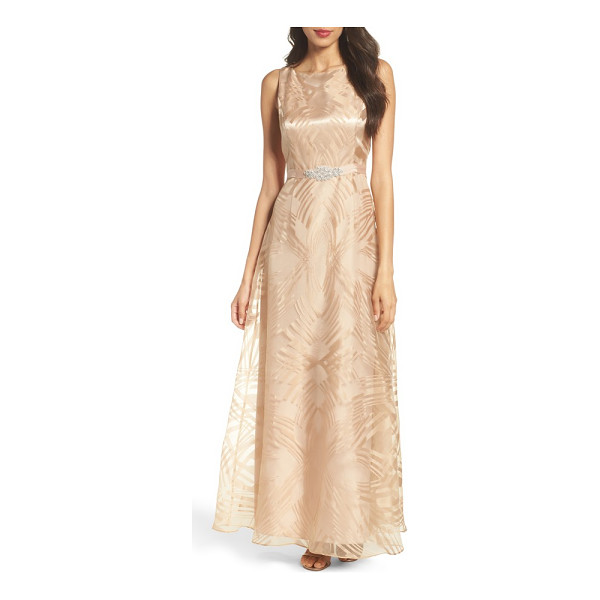 ELLEN TRACY embellished burnout gown - Geometric burnout patterns smarten the radiant organza veil...