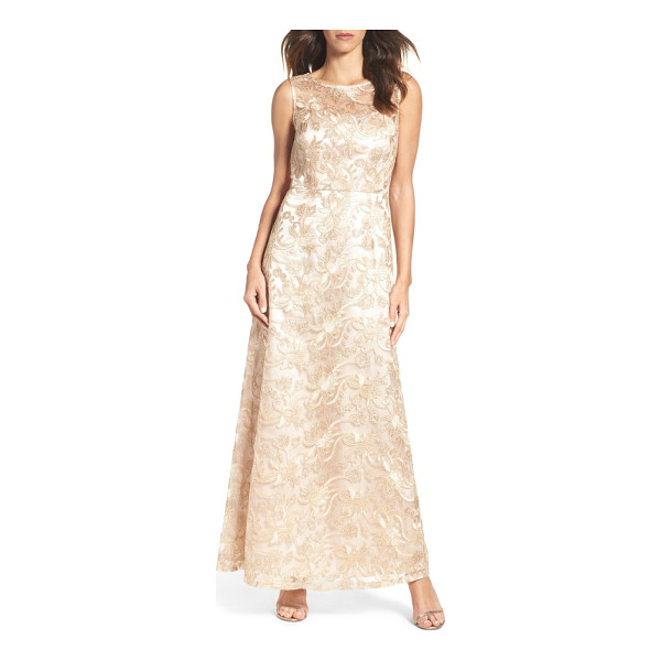 ELLEN TRACY embellished mesh gown - Corded embroidery and sequins shimmer over this soft and...