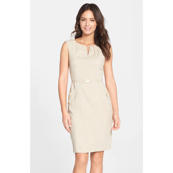 ELLEN TRACY kenya belted woven sheath dress - A shallow keyhole draws the eye up to the pleated neckline...