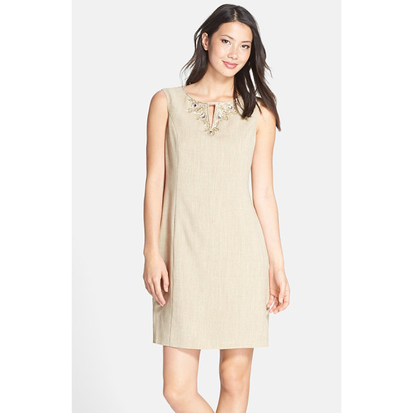 ELLEN TRACY kenya embellished woven sheath dress - A glittering flash of beading draws the eye up to the...