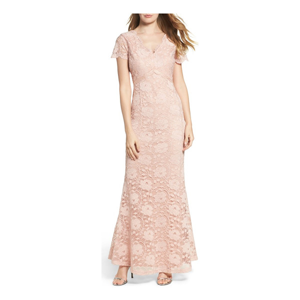 ELLEN TRACY lace gown - The jewel-tone lace of this airy, ageless gown looks all...