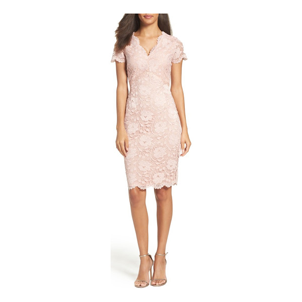 ELLEN TRACY lace sheath dress - A regal color brings out the textured depth of this...