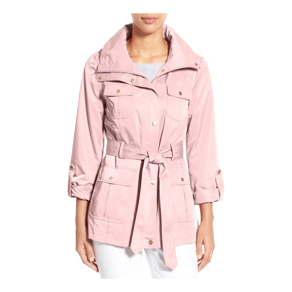 ELLEN TRACY techno short trench coat - A lustrous, water-resistant techno fabrication adds polish...