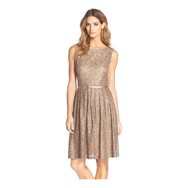 ELLEN TRACY pleated lace fit & flare dress - A fitted bodice transitions into a swingy pintuck skirt to...