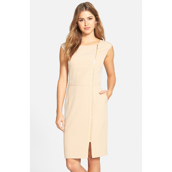 ELLEN TRACY zip detail sheath dress - A gleaming exposed zipper travels from the round neckline...