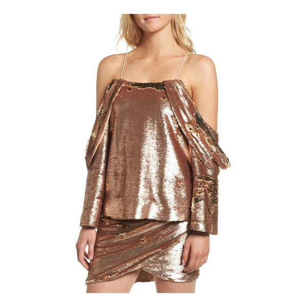 ELLIATT revolution off the shoulder sequin top - Sequins dazzle to the max on this party-ready top designed...