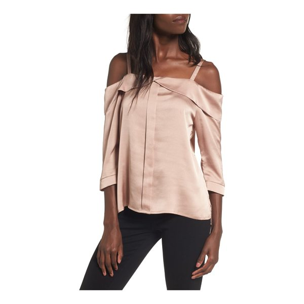 ELODIE satin off the shoulder top - Faded, rose-hued satin adds sweet luster to a beautifully...