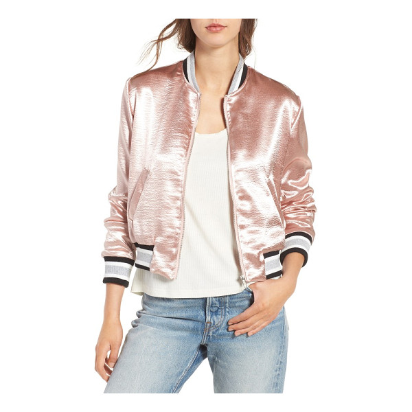 ELODIE satin varsity jacket - Ultra-luminous satin and a pretty blushed hue put a...