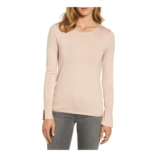 EMERSON ROSE cuff detail silk blend crewneck sweater - Extended vented cuffs garnished with a trio of pearlescent...