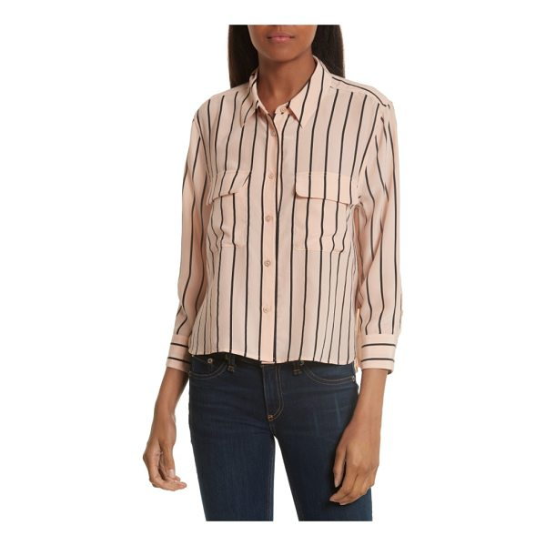 EQUIPMENT signature crop stripe silk shirt - A favorite silk style refreshed with sophisticated stripes...