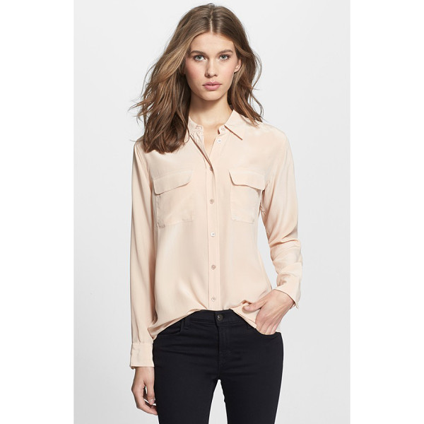 EQUIPMENT slim signature silk shirt - Deep, shimmering color further refines a supersoft...