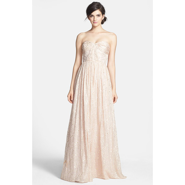 ERIN ERIN FETHERSTON coralie foiled silk chiffon gown - An enchanting chiffon gown aglow in a metallic print is...