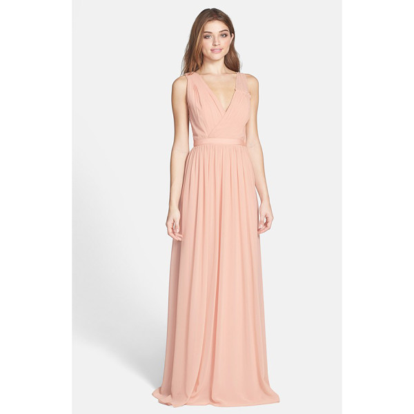 ERIN ERIN FETHERSTON sandrine embellished chiffon gown - Mini rhinestones scatter over one illusion shoulder of a...