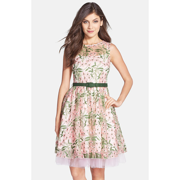 EVA BY EVA FRANCO renee belted floral embroidered fit & flare dress - Delicate embroidery blooms on a pretty mesh dress detailed...