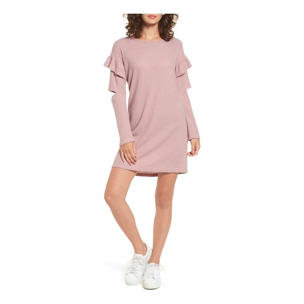 EVERLY ruffle sleeve knit dress - Statement sleeves slashed at the elbow and ruffled at the...