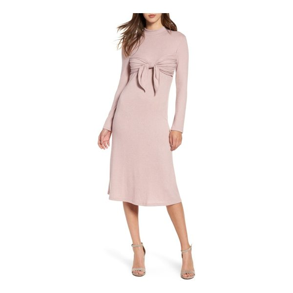 EVERLY tie front knit dress - A playful tie creates a trendy bandeau overlay at the...