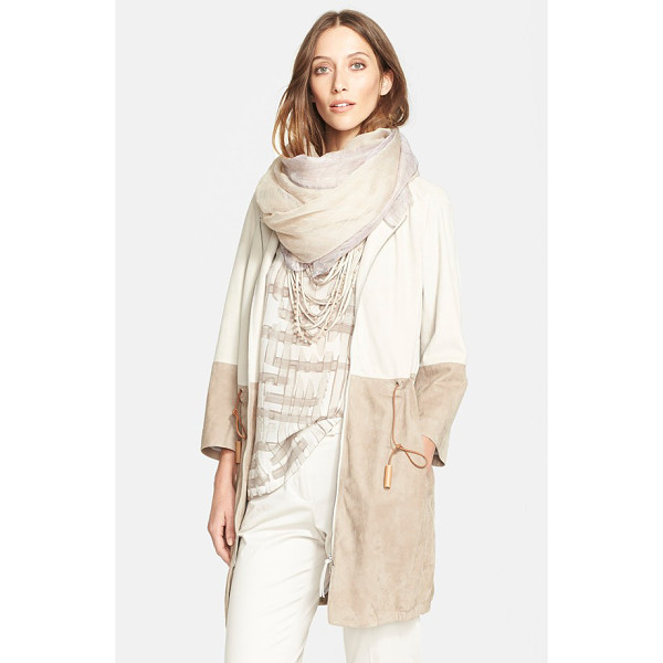 FABIANA FILIPPI two-tone suede jacket - Cream stacked over beige is understated and versatile on a...