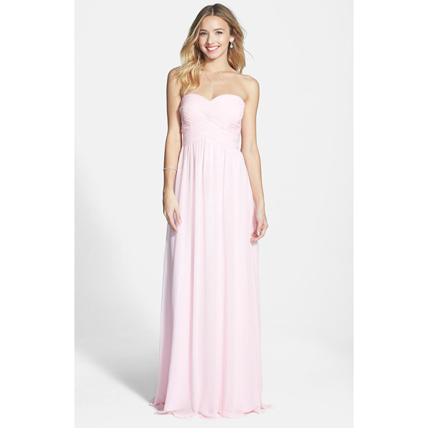 FAVIANA colorblock chiffon gown - Flattering shirring gives comfortable structure to the...