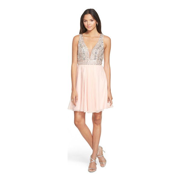 FAVIANA embellished chiffon fit & flare dress - Instantly get the party started in this dreamy decollete...