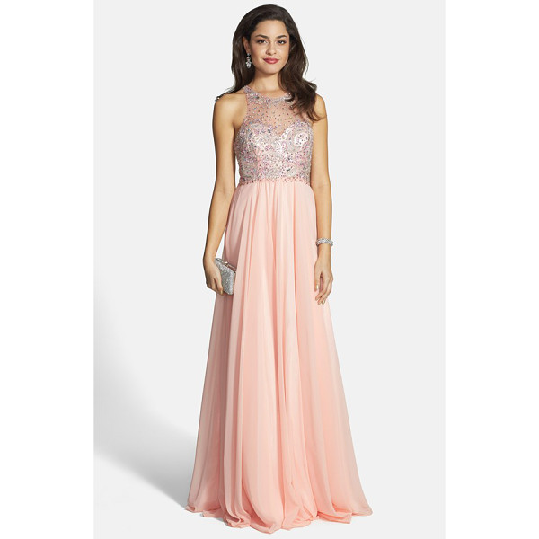 FAVIANA embellished chiffon gown - A dusting of beads and sequins adds luxe sparkle to the...