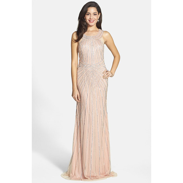 FAVIANA embellished tulle column gown - A clean, linear pattern of glittering sequins and beading...