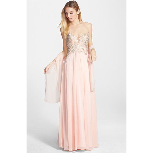 FAVIANA embroidered chiffon gown - This gown's shapely sweetheart bodice is left seductively...