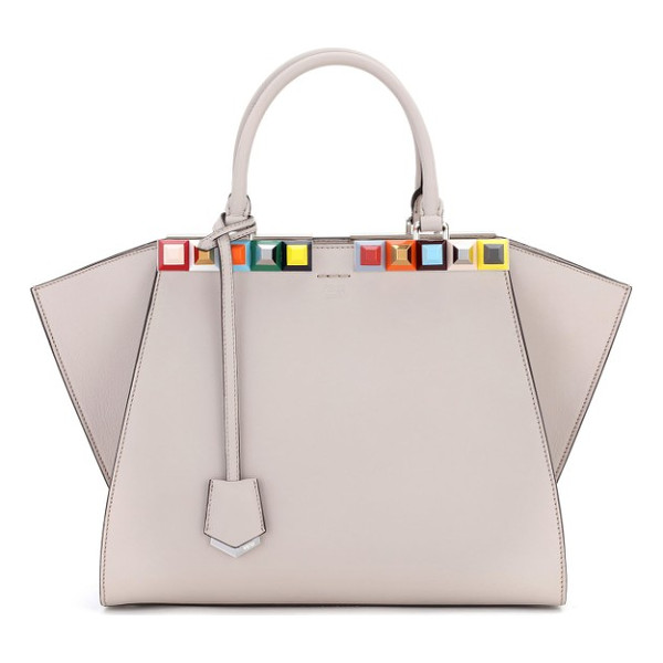 FENDI 3jours studded calfskin leather shopper - Color-pop pyramid studs trace the topline of an iconic...