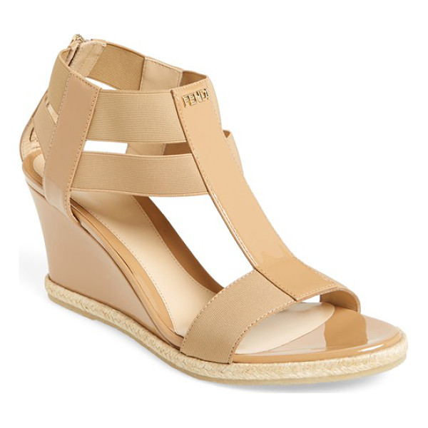 FENDI carioca wedge sandal - Shiny patent leather mixes with matte elastic straps in a...