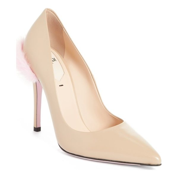 FENDI duo pointy toe pump with genuine mink trim - A plush puff of genuine mink fur adds luxe softness to the...