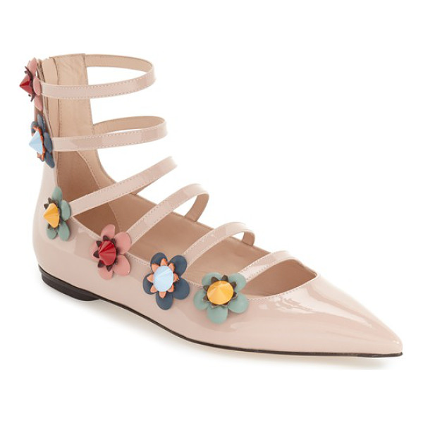 FENDI flowerland strappy flat - Slim, stacked straps run from pointed toe up to the ankle...