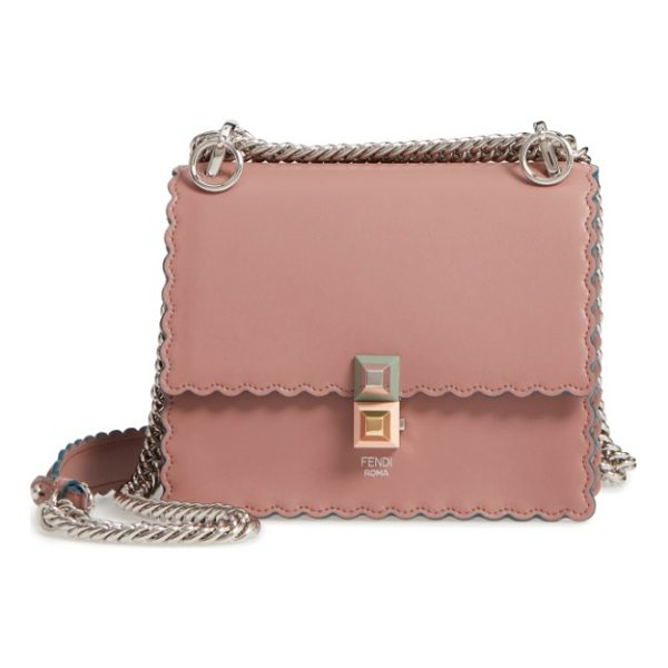 FENDI small kan i scallop leather shoulder bag - Pyramid studs secure the pretty scalloped flap of this mini...