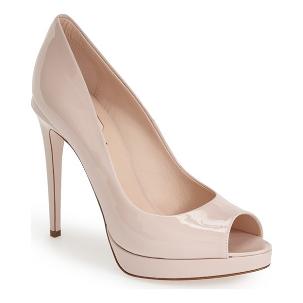 FENDI 'sophie' peep toe pump - Liquid-shine patent leather defines the shapely curves of a...