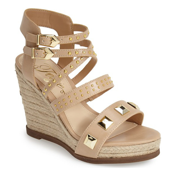 FERGIE averie espadrille wedge sandal - Bold pyramid studs and gilt accents amp up the rocker-chic...